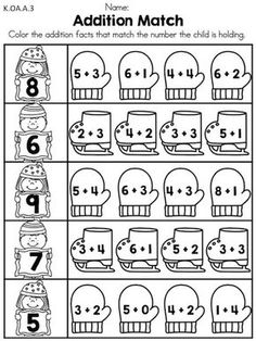 Addition Match >> Match the sum by coloring the skates and mittens with the correct equations >> Part of the Winter Kindergarten Math Worksheets packet math worksheets common core activities Kindergarten Math Worksheets, School Worksheets, Preschool Math, Math Activities, Preschool Winter, Printable Worksheets, Free Printable, Math For Kids, Fun Math