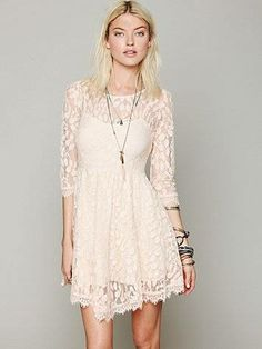 Free People Floral Mesh Lace Dress, This would be so cute on you! I love the lace and the soft pink color. Lace Mesh Dress, Lace Slip, White Lace, White Dress, Dress Outfits, Dress Up, Quoi Porter, Frack, Vogue