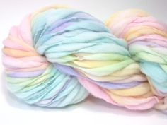 Self striping pastel rainbow yarn handspun thick and thin in merino wool - 56…