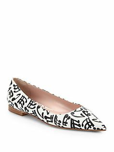 Somehow these remind me of Charlie Brown cartoons.  Miu Miu Music Note-Print Leather Ballets $345 |Saks Fifth Avenue