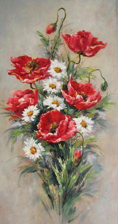 Poppies and Daisies Floral arrangement Oil Painting Flowers, China Painting, Watercolor Flowers, Watercolor Paintings, Art Floral, Pintura Graffiti, Images D'art, Desenho Pop Art, Diamond Art