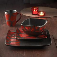 American Atelier Safari Red Giraffe 16-piece Dinnerware Set | Overstock.com Shopping - Great Deals on American Atelier Casual Dinnerware