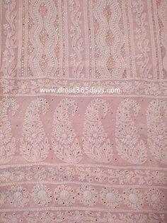 Light Pink Lucknowi Chikankari Suit with Golden Mukaish/ Badla Work (Kurta and Dupatta)