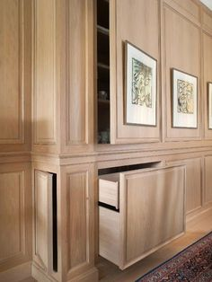 Home Hidden Storage Cabinetry Shelf Wall Panelling Furniture Room Storage Furniture, House Design, House, Interior, Home, Built Ins, Built In Storage, Interior Design, Millwork Details