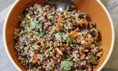Quinoa Lentil Salad with Ginger Curry Vinaigrette * I like to use add 1Tbs. Dijon mustard to dressing.