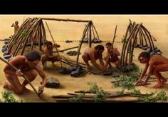 Reconstruction illustration of 400,000-year-old shelter from Terra Amata, France