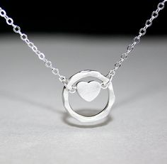 Heart Necklace Silver Heart and Hammered Circle by smilesophie, $17.50