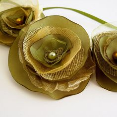 Fabric flower necklace / headband in olive green by ResQCrafts, via Flickr