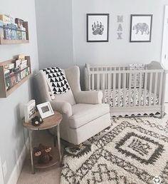 Nursery Furniture, Nursery Room, Nursery Gray, Nursery Modern, Nursery Spare Room Ideas, Blue Nursery Ideas, Baby Nursery Ideas For Boy, Cheap Nursery Ideas, Small Baby Nursery