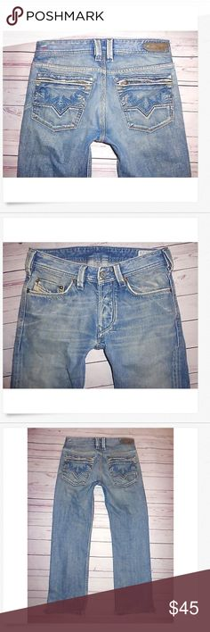 Mens DIESEL Low Rise YARIK Slim Straight Jeans 29 Mens DIESEL Low Rise YARIK Slim Straight Jeans 29 x 28 hemmed Good Used! Factory distressed & sides of hems have been split .5 inch 100% cotton 15 across & 8.5 rise Diesel Jeans Straight