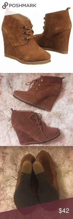 Steve Madden Suede Wedge Camel lace up wedges. Worn a handful of times but great condition. Shows minor wear on the suede of the inside of one shoe, shown on last photo. Style is Tanngoo. True to size 9 Steve Madden Shoes Wedges