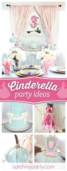 Don't miss this stunning Cinderella birthday party! The dress inspired birthday cake is gorgeous!! See more party ideas and share yours at CatchMyParty.com#cinderella #princessparty