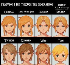 through the generations by mmimmzel -Link through the generations by mmimmzel - Link through the years in each different Zelda game! Legend of Zelda Breath of the Wild sequel art > Princess Zelda and Link > botw 2 The Legend Of Zelda, Legend Of Zelda Memes, Legend Of Zelda Breath, Zelda Drawing, Legend Drawing, Otaku, Mundo Dos Games, Skyward Sword, Link Zelda