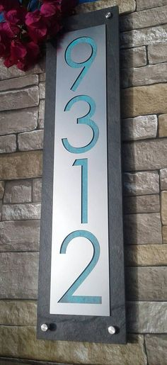 906c8774b4d Modern House Numbers Mid Century Vertical Address Plaque
