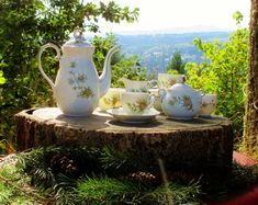 Seyei Fine China Coffee Set - Pinecone and Needles Pattern 1028 with Platinum Trim by HeartSmileFarms on Etsy