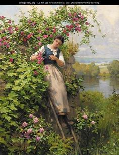 British Paintings: Daniel Ridgway Knight - Cutting the Roses