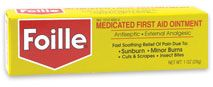 Foille. My Grandmother gave me a tube of this to put on a burn and it is a miracle worker! Apply at least 3x daily. Awesome product.
