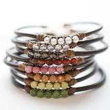 5 Perfect Gems Leather Bracelet - freshwater pearl Wooden Skins