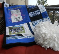 Save your T Shirts and re use them in a T Shirt Quilt. Photo is a High School Poms T Shirt blanket made by Moss Re-Creations. Large lap throw size is $300.00 at www.mossembroidery.com
