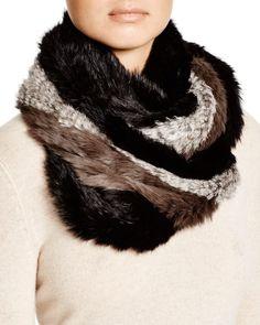 Jocelyn Striped Rabbit Fur Infinity Scarf - Bloomingdale s Exclusive Foulard,  Écharpe En Cercle, L f3225b60511