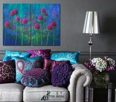 69 Ideas Bedroom Colors Purple And Grey Chandeliers Living Room Decor Purple, Teal Rooms, Purple Bedrooms, Living Room Color Schemes, Paint Colors For Living Room, Living Room Grey, Bedroom Colors, Living Room Designs, Gray Bedroom