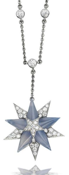 A chalcedony and diamond pendant necklace, by Tiffany & Co..    Designed as a star of blue chalcedony and brilliant-cut diamonds, suspended from a chain highlighted with similarly cut diamonds, mounted in platinum, diamonds approximately 2.75 carats total, signed Tiffany & Co, pendant length 4.3cm, necklace length 40.0cm. Via Bonhams.