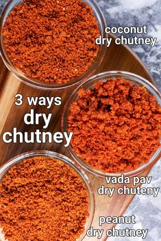 vada pav chutney recipe | dry coconut chutney | dry chutney recipe 3 ways Spicy Recipes, Curry Recipes, Cooking Recipes, Snacks Recipes, Coconut Chutney, Garlic Chutney, Podi Recipe, Indian Dessert Recipes, Indian Recipes