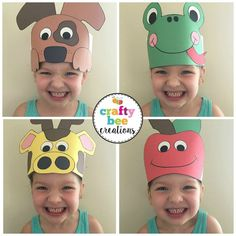 Cutest A to Z Animal Hats ever! Kids will not only love wearing them, but they will love making them Crown Crafts, Hat Crafts, Crazy Hat Day, Crazy Hats, Animal Crafts For Kids, Crafts For Kids To Make, Craft Activities, Preschool Crafts, Silly Hats