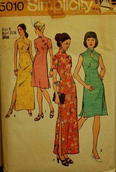 1970s Dress Mandarin Collar  Simplicity Pattern by patterntreasury, $5.95