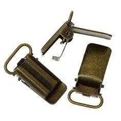 20 Hosenträgerclips für Band bis 1,5cm bronze 3,3x1,8cm  Spannclips Schnulli | Bacabella Perlen und Schmuckzubehör