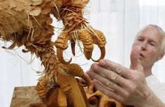 The impressive wood sculptures by Russian artist Sergei Bobkov, who thoroughly assembles hundreds of cedar chips to create highly detailed animals, giving a