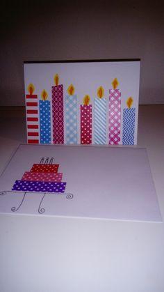 Verjaardagskaart met bijpassende enveloppe met washi tape