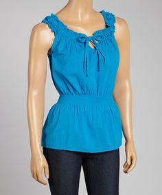 Another great find on #zulily! Prestige Edge Aqua Blue Sleeveless Peasant Top - Women by Prestige Edge #zulilyfinds