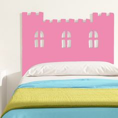 cabecero cama infantil castillo rosa claro