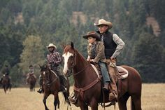 Kevin Costner, Denim Richards, and Brecken Merrill in Yellowstone Cowboy Art, Cowboy And Cowgirl, Cowboy Boots, Yellowstone Series, Cute Country Boys, Country Life, Cowboys And Indians, Hot Cowboys, Cowboy Outfits