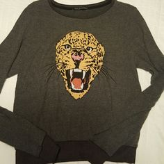 Cougar Wildfox Baggy Beach Jumper pull over Grey roaring cougar Wildfox. Pre loved!! In awesome condition. Tag reads XS but of course oversized, I'm never an xs. Wildfox Tops Sweatshirts & Hoodies