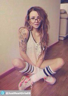 #tattoos #glasses #socks #selfie cute babe
