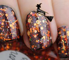 "Lynderella Nail Polish Halloween ""Cauldron Drippings"" over Serum No.5 ""Fallen"""