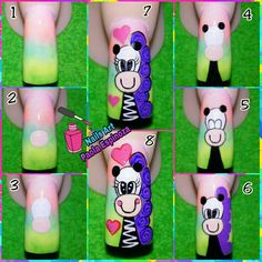 A step by step I did, I hope you like it. Nail Manicure, Pedicure, Animal Nail Designs, Cool Nail Art, Fun Nails, Hair Beauty, Lily, Giraffes, Armadillo