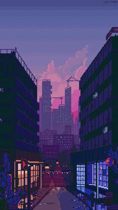 ideas aesthetic wallpaper dark street for 2019 Purple Aesthetic, Aesthetic Art, Aesthetic Pictures, Aesthetic Anime, Pixel Art Anime, Pixel Gif, Arte Drake, Image Pixel Art, Pixel Art Background