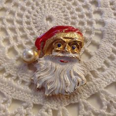 Christmas Santa Claus Vintage Pin, Brooch - Blue Rhinestone Eyes by stylishjunque on Etsy
