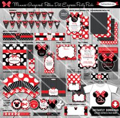 Minnie Mouse Birthday Party Package  Printable by thepartystork