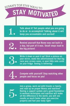 Weight loss and fitness motivation. Susan's top five ways to stay motivated. Citation Motivation Sport, Daily Motivation, Health Motivation, Weight Loss Motivation, Motivation Inspiration, Fitness Inspiration, Workout Motivation, Fitness Quotes, Fitness Tips