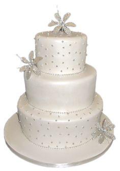3 Tier Pearlised White Diamante Flower Wedding Cake #3tiervintageweddingcake #3tierpearlisedweddingcake #weddingcake #creamweddingcake #sparklingweddingcake #diamonteweddingcake