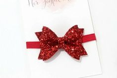 Sparkling glitter bow on a headband or as a glitter hair clip.  This red bow will be so cute for July 4th!