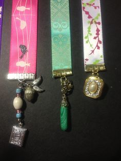 My bookmarks made from repurposed vintage jewellery and ribbon! I made so many of these. I love them!