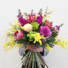 Colourful bouquet by @eastendflowermarket