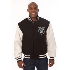 Oakland Raiders JH Design Domestic Two-Tone Wool and Leather Jacket - Black