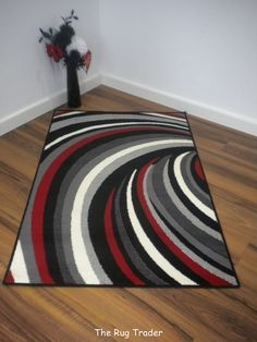 aqua and red rugs | Helix Striped Modern Poly Black Red Grey Rug 100cm x 150cm [HelBlk ...