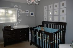 grey+baby+nursery | here is a pretty nursery with grey walls and expresso furniture: